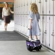 School Girl Waiting For Her Mother — Stock Photo