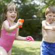 Girl and boy having fun — Stock Photo