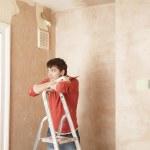 Man resting on step ladder — Stock Photo #33829861