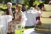 Wedding cake with guests sitting at tables — Stock Photo