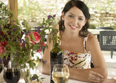 Woman at Table — Stock Photo
