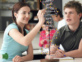 Teenagers working on DNA model — Photo