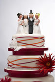 Wedding Cake with Funny Figurines — Stock Photo
