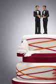 Groom Figurines on Wedding Cake — Stock Photo