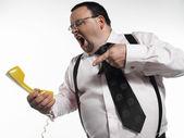 Businessman yelling at phone — Stock Photo