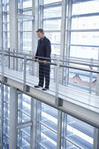 Businessman Looking over Railing — Stock Photo