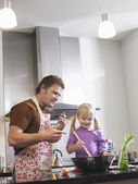Father and Daughter Baking — Stock Photo