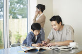 Father and Son coloring in Coloring Book — Stock Photo