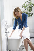 Businesswoman Filling Bathtub — Photo