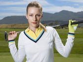 Golfer Holding Club — Stock Photo