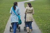 Mothers pushing strollers in park — Stock Photo