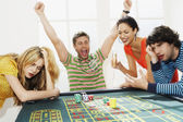 Man winning on roulette table — Stock Photo