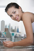 Woman Washing her Face — Stock Photo