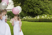 Girls with Party Balloons — Stock Photo