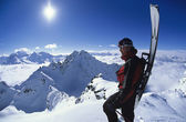 Skier looking at mountain view — Stock Photo