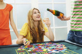 Woman celebrating with friends at roulette — Stock Photo
