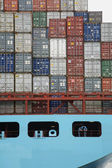 Two men on container ship — Stock Photo