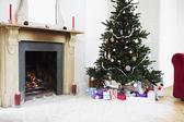 Fireplace and Christmas Tree — Stock Photo