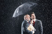 Businessmen Under Umbrella — Stock Photo