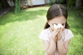 12220066Little Girl Blowing Her Nose — Stock Photo