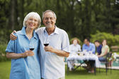 Couple with wine — Stock Photo