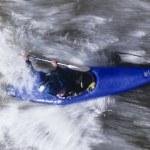 Kayaker paddling through Rapids — Stock Photo