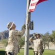 Foto Stock: Soldiers raising United States flag