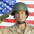 Stock Photo: Soldier saluting