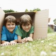 Boys lying in cardboard box — Stockfoto