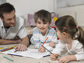 Father and Children Coloring — Stock Photo