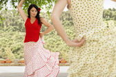 Two women flamenco dancing — Stock Photo