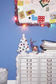 Office Christmas Decorations — Stock Photo
