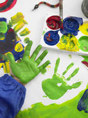 Boy finger painting — Foto Stock