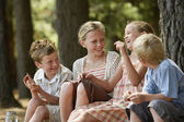 Children Having Fun in Forest — Stock Photo