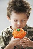 Boy Eating a Cupcake — Stock Photo