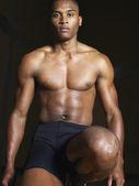 Bare-chested runner — Stock Photo