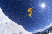 Skier in snow — Stock Photo