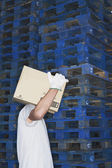 Warehouse Worker Carrying Box — Stock Photo