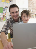 Father Helping Son — Stock Photo