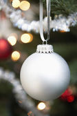 Silver bauble — Stock Photo