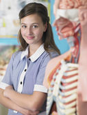 Student standing by anatomical model — Stock Photo