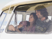 Couple Sitting in camper van — Stock Photo