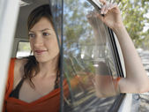 Young Woman in Camper Van — Stock Photo