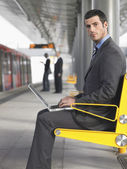 Businessman Waiting for a Train — Stock Photo