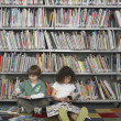Stock Photo: Boy and girl reading books