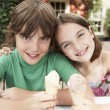 Kids Eating Ice Cream — Stock Photo