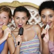 Teenage Girls using brushes as microphones — Stock Photo