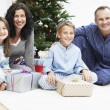 Family in Front of Christmas Tree — Stock Photo #33842695