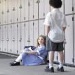 School Children Waiting Near Lockers — Stock Photo