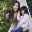 Mother sitting with daughter on lap — Stock Photo #33844269